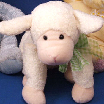 FAO Baby Large White Seated Chenille Lamb with Green Check Bow