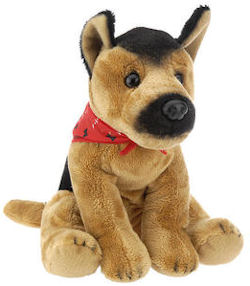 FAO Schwarz Seated German Shepherd Dog Wearing Red Bandanna