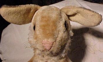 60's? Vintage Brown Rabbit Wearing a Jingle Bell