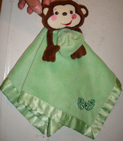 Fisher Price Rain Forest Brown Monkey with Green Blankie