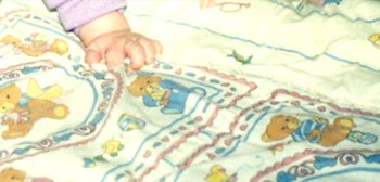 80's Fisher Price? Cream Bears Ruffled Blanket Pink, Blue Stripe with Toys Print
