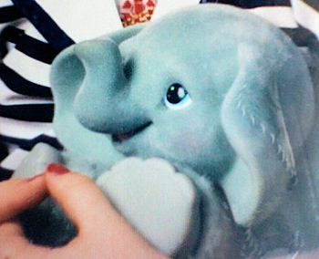 90's Velvet Flocked Head Plastic Paws Blue Elephant