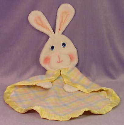 , REPLICA Fisher Price Snuzzles BUNNY RABBIT Multi-color PLAID Security Blanket