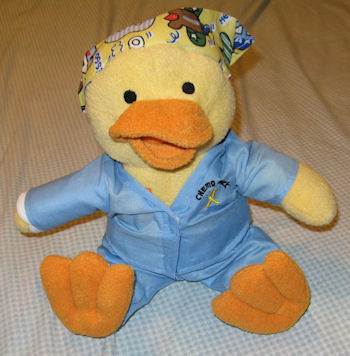 Gabe's Chemo Duck with Bandanna, Scrubs & Cast