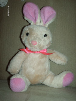 Small Plush Nosey Bunny Galerie Tan Rabbit with Pink Ears, Nose, & Feet