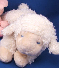 Baby GANZ No BG646 White Chenille Lying Down Lamb with Cream Velour Face, Hooves, Ears & Tail
