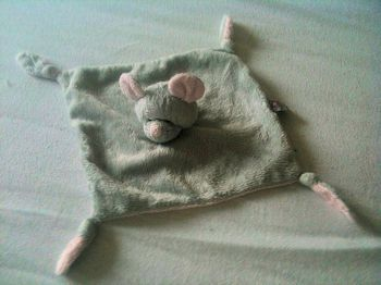 Baby GANZ Gray Pink Mouse Blankie with Knotted Corners