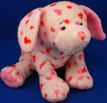 GANZ Webkinz Love Puppy Valentine Dog Covered with Pink & Red Heart Spots