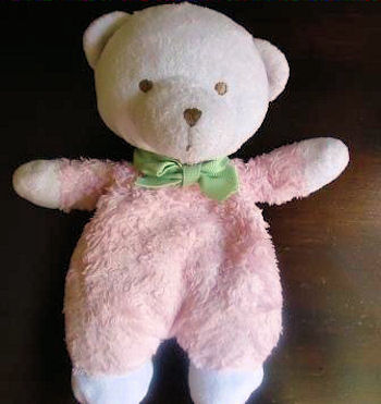 Garanimals White Bear Wearing Pink Chenille Sleeper & Green Bow
