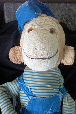 Commonwealth 80's Brown Monkey with Blue Overalls & Hat