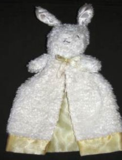 Gerber White Chenille Gown Style Rabbit Blankie with Yellow Satin Lining