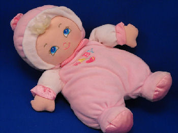 Goldberger BABY'S FIRST BUNDLE OF JOY Blond Doll Pink & White BABY