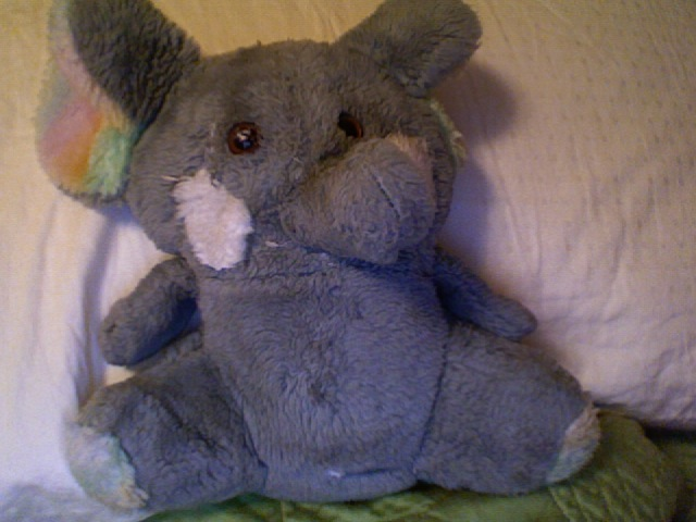 Gray Elephant with Rainbow Colored Ears & Feet