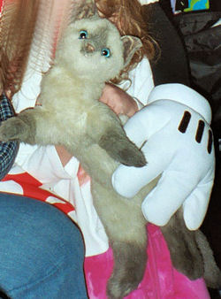 90's Realistic Plush Lying Down Siamese Cat