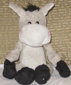 Gray and White Donkey with Black Hooves, Mane, Tail