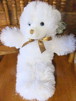 Dollar Store white bear, FOUND – Greenbriar Cuddly Cousins LONG WHITE BEAR with GOLD NOSE & BOW
