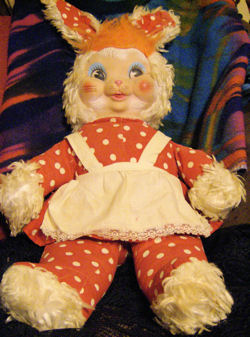 GUND vintage red polka dot rabbit wearing an apron