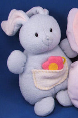 Baby GUND Blue White Rabbit  Pocket Pink Crinkle Flower