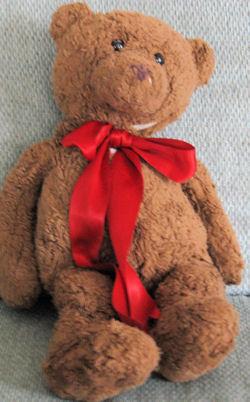 GUND Large Brown Bear No. 42462 with a Big Red Satin Ribbon