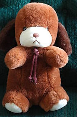 1982 GUND Smooch Brown White Seated Dog with Bolo Tie