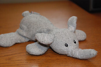 GUND Toodles 8 inch Lavender Lying Down Elephant Rattle