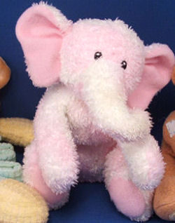, DISCONTINUED – Baby GUND Floppy PINK CHENILLE SPRINKLES ELEPHANT