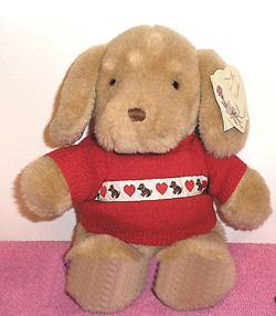 , Searching – 1985 GUND TENDER PUPPY Dog Wearing a RED SWEATER