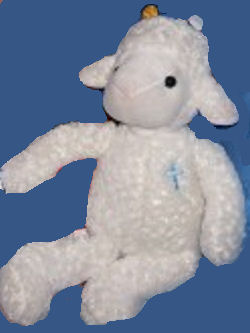 , Searching – DanDee White LAMB with BLUE CROSS