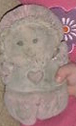 GUND? Doll Wearing a White Top with a Pink Heart, Pink Bonnet, Arms & Legs