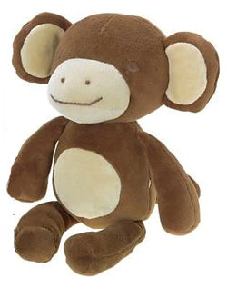 2008 Gymboree Big Eared Brown Monkey with Cream Ears, Muzzle & Tummy
