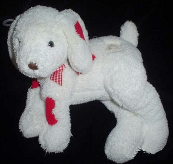 Hallmark White Floppy Dog with Pastel Heart Patches Embroidered HUG & LOVE