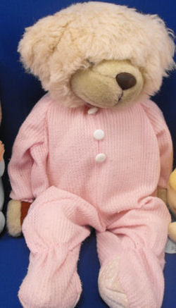 LARGE CREAM Happiness Express Snoozems BEAR in PINK THERMAL PAJAMAS
