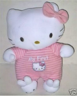 My First Hello Kitty in  a pink striped romper