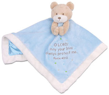 His Gem Tan Bear Pink Blankie Embroidered Psalm 40:11