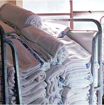 , FOUND – 2001 Woven WHITE HOSPITAL BLANKET