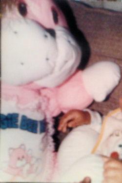 , Searching &#8211; 1986 FAIRVIEW Jumbo Love PUFFALUMP Style PINK &#038; WHITE HUGGIE BEE BEAR <i>Top Priority</i>