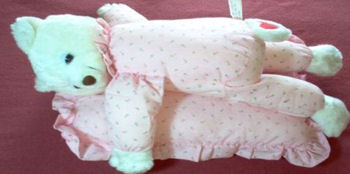 International Silver White Bear with Light Pink Rose Print Pajamas & Cap