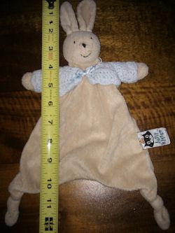 Jelly Cat Cream Rabbit Blankie Wearing Blue Crochet Sweater