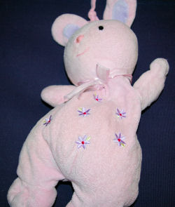 Carter's Just One Year Pink Pull Crib Musical Bunny Rabbit with Purple Flowers