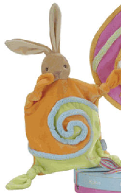 Kaloo Lollies Orange and Light Green Textured Rabbit Blankie with Knotted Corners