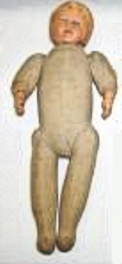 Composite cloth body boy doll with molded hair
