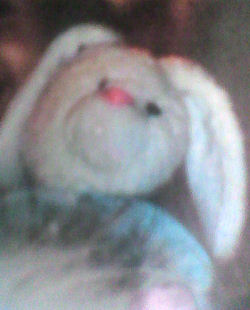 KB Toy Blue & White Rabbit Wearing Bunny Slippers, Holding a Blankie