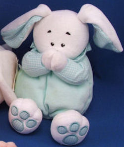 KIDS II White & Green Praying Rabbit with Green Gingham Accents Now I Lay Me Down to Sleep
