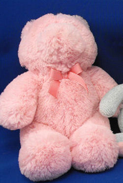 Kids Preferred 2006 Large Chenille Bear Wearing a Pink Grosgrain Bow