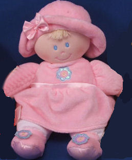 , Searching – KIDS PREFERRED BLOND DOLL Wearing PINK DRESS, HAT, SHOES Shiny Flower Applique