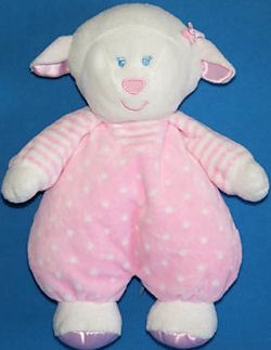 Kids Preferred White Lamb wearing a Pink Polka Dotted Jumper and Striped Shirt
