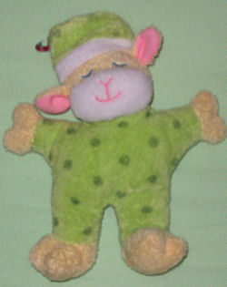 Kids Preferred Sleepy Time Rattle Lamb in Green Polka Dot Sleeper and Nightcap
