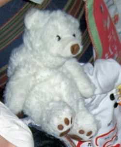 1992 Large Seated White Polar Bear with Brown Nose & Vinyl Foot Pads