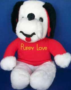 70's Knickerbocker Snoopy Like Puppy Love Dog with Red Shirt