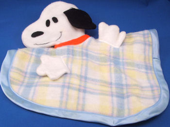 Knickerbocker Blue Plaid Blankie with a Snoopy Head & Arms
